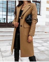 Дълго дамско палто в кафяво - код 3435