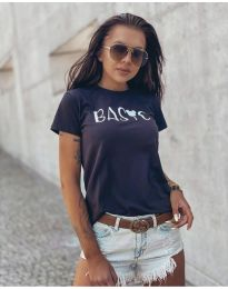 Дамска тениска с къс ръкав в черно - код 3017