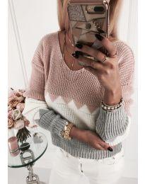 Блуза в розово, бяло и сиво с ефектен гръб - код 375