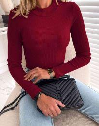 Блуза с поло яка в цвят бордо - код 0688