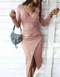 Стилна дамска рокля в цвят пудра - код 4769