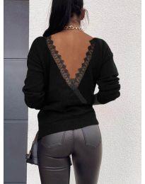 Дамска блуза с ефектен гръб в черно  - код 6050