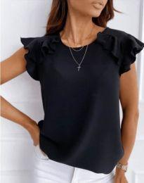 Блуза с ефектни ръкави в черно - код 3299