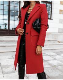 Дълго дамско палто в червено - код 3435