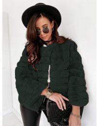 Дамско късо палто в тъмно зелено - код 7676
