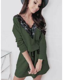 Свободна рокля в маслено зелено - код 5111