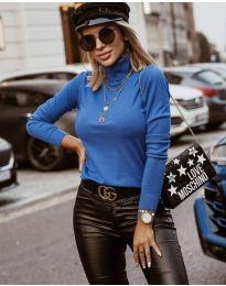 Дамска блуза с поло яка в синьо - код 8861