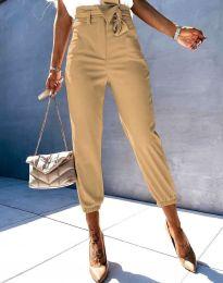 Елегантен дамски панталон в цвят капучино - 3905