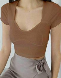 Дамска тениска в цвят капучино - код 1280