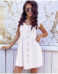 Свободна изчистена рокля в бяло - код 3033