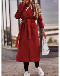 Дамско палто с колан в червено - код 7989