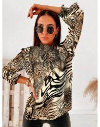 Дамска блуза с атрактивен десен и къдрички - код 496 - 5