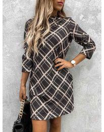 Дамска рокля с ефектен десен - код 9187 - 1