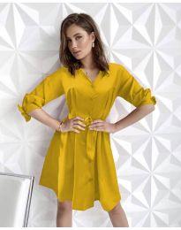 Изчистена рокля в цвят горчица - код 9028