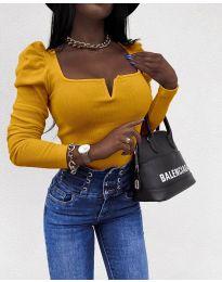 Елегантна блуза в цвят горчица - код 2620