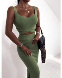 Дамски комплект в маслено зелено - 9997