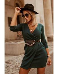 Изчистена рокля в  маслено зелено - код 9977