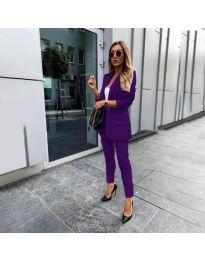 Елегантен комплект от сако и панталон в тъмно лилаво - код 862