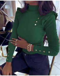 Дамска блуза в тъмно зелено - код 6566