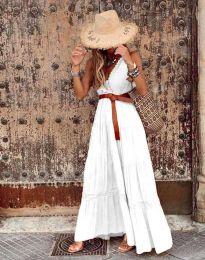 Атрактивна дълга рокля в бяло - код 0817