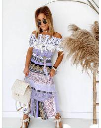 Дълга рокля с атрактивен десен в лилаво - код 5061