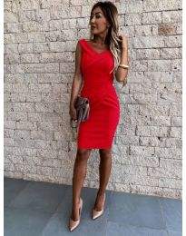 Изчистена рокля в червено - код 1104