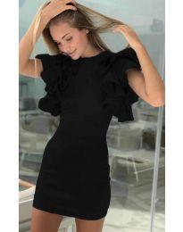 Дамска рокля с ръкави с набран ефект в черно - код 939