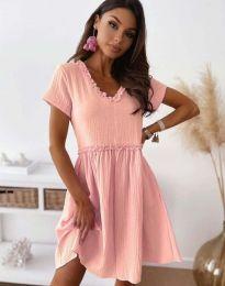 Свободна дамска рокля в розово - код 1679