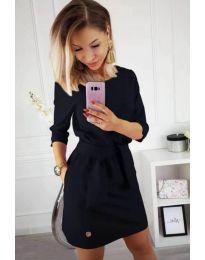 Изчистена рокля в черно с колан при талията - код 594