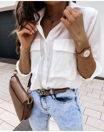 Изчистена дамска риза в бяло - код 6148