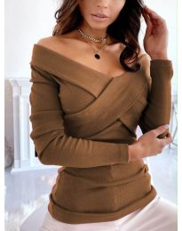 Екстравагантна дамска блуза в кафяво - код 0308