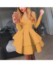 Атрактивна рокля в цвят горчица с ефектно деколте - код 228