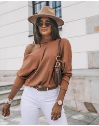 Дамска блуза в кафяво - код 5618