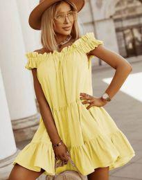 Свободна кокетна рокля в жълто - код 6969
