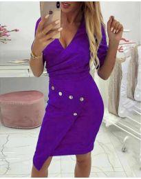 Ефектна рокля с капси в лилаво - код 415