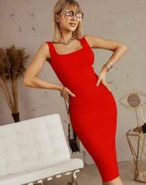 Изчистена рокля в червено - код 5965