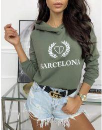 Спортна блуза в зелено с надпис - код 766