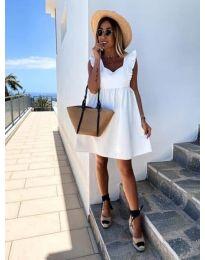 Стилна рокля в бяло - код 818