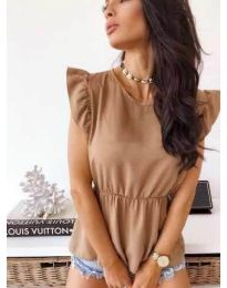 Кафява дамска блуза с набрани ръкави - код 742
