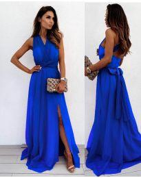 Дълга рокля в цвят тъмно синьо - код 2011