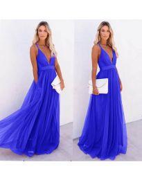 Ефирна дълга рокля в тъмно синьо - код 5587