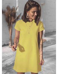 Изчистена рокля в цвят горчица - код 2299