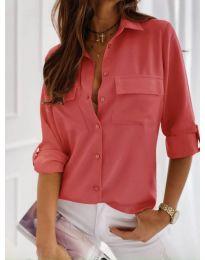 Класическа дамска риза в цвят корал - код 450