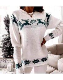 Дамски пуловер със зимен десен - код 1219 - 3