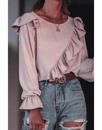 Дамска блуза в цвят пудра - код 6009