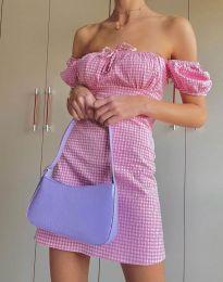 Карирана дамска рокля в розово - код 2594