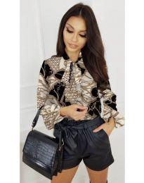 Дамска риза с ефектен десен и дълги ръкави - код 215 - 1