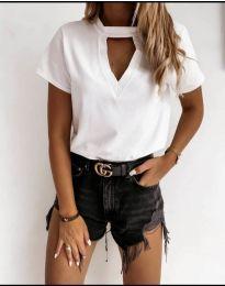 Дамска изчистена тениска в бяло - код 3597