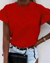 Дамска тениска с ефектни ръкави в червено - код 4352