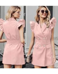 Рокля в розово с къси ръкави с набори - код 311